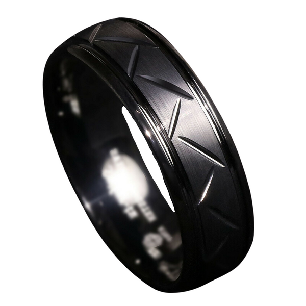 Dome Black Warrior Brushed Center Tungsten Ring