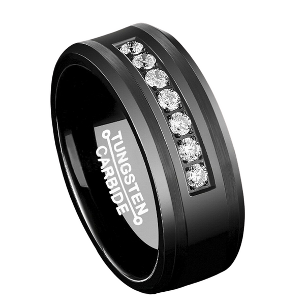 Black Tungsten Carbide Ring Diamonds Inlay MEN Wedding Band