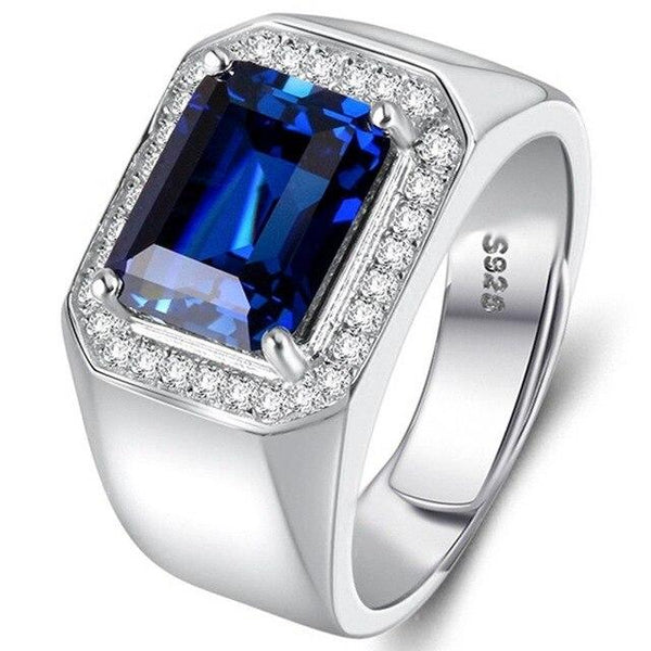 Men's Ring Domineering Blue Main Stone