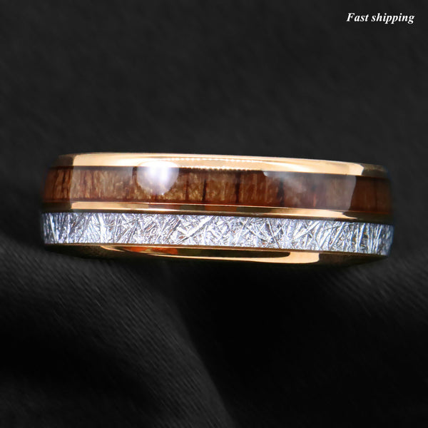 Rose Gold Dome Tungsten Ring