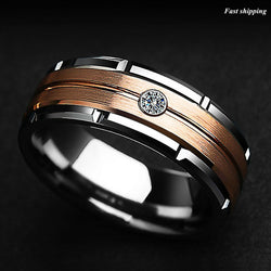Silver Tungsten Ring Rose Gold Brushed