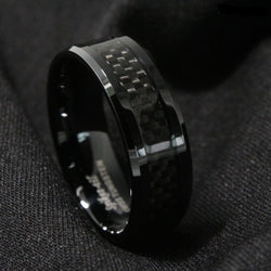 Tungsten Carbide ring Black Carbon Fiber