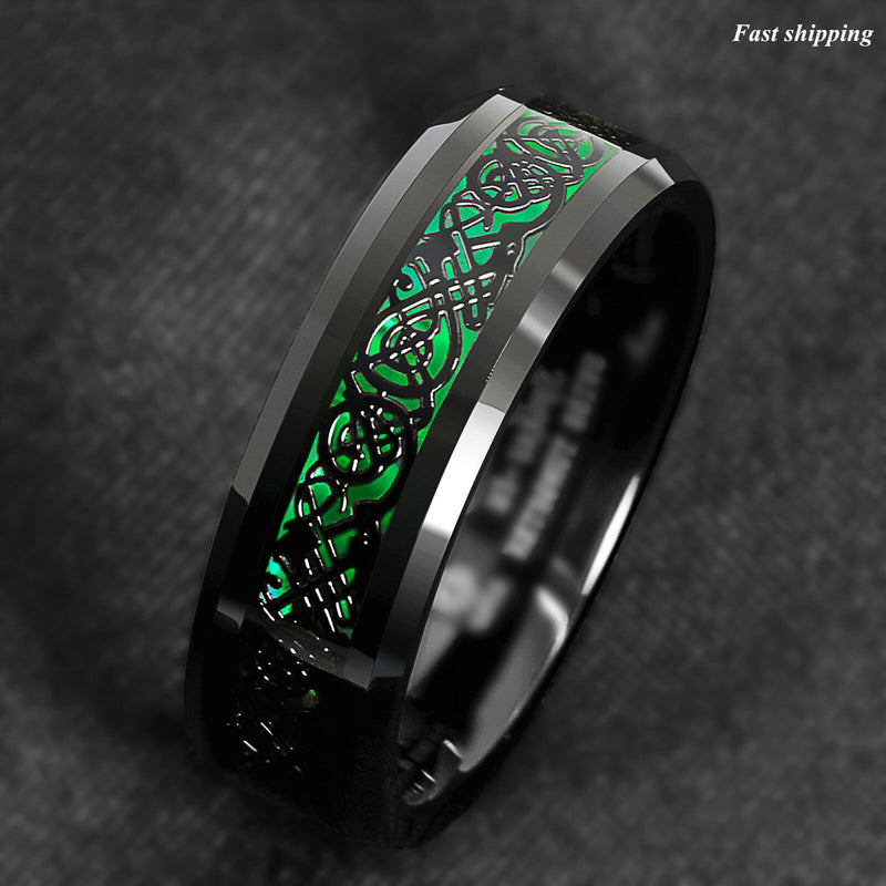 Tungsten Ring Black Celtic Dragon Green Carbon