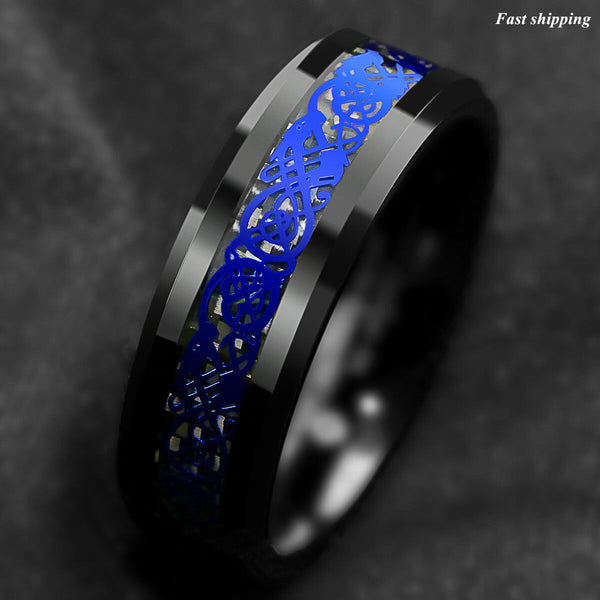 Tungsten Carbide Ring Blue Celtic Dragon