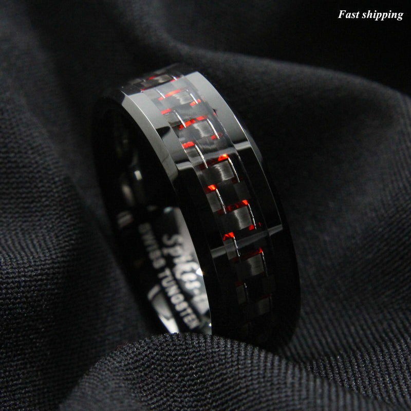 Men Tungsten Ring with Carbon Fiber 8mm Black and red