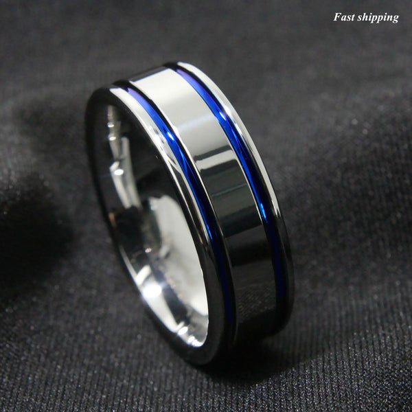 Tungsten Carbide ring Men's Double Blue Stripe