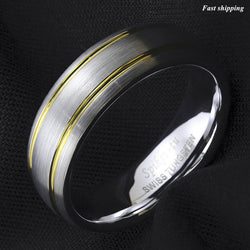 Tungsten Ring Brushed Silver Dome