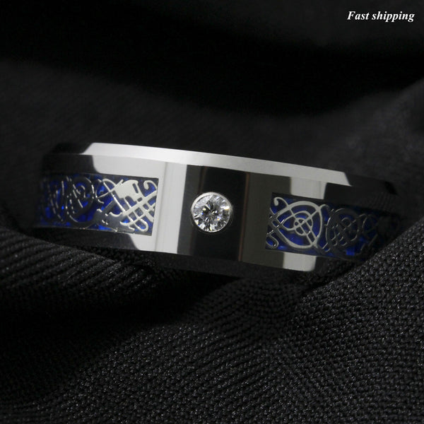 Silver Celtic Dragon Tungsten Carbide Ring