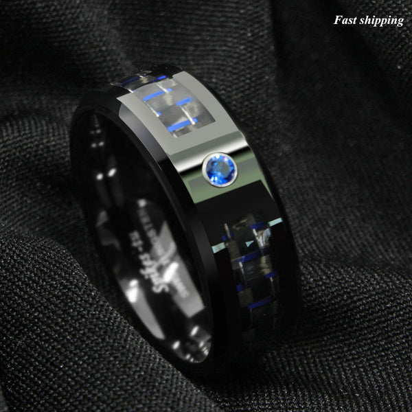 Black and blue Carbon Fiber Tungsten Ring