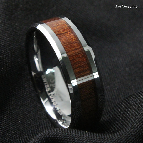 Men's Tungsten Carbide Ring Wood Inlay