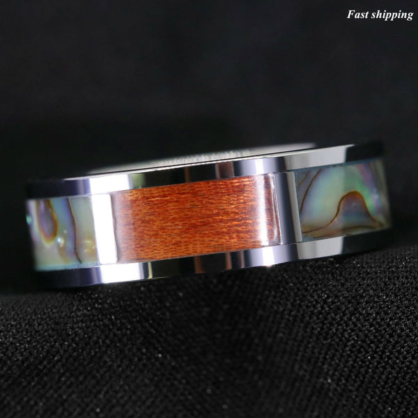 Silver Tungsten Ring Koa Wood Abalone Inlay