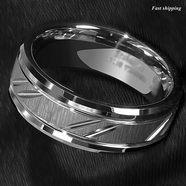 Tungsten Carbide Ring Silver leaf
