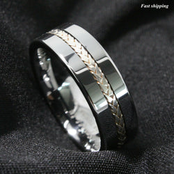 Tungsten Ring Silver Inlay Wedding Band