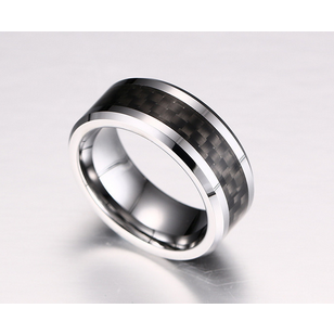 Silver Black Textured Ring 8mm - primejewelry