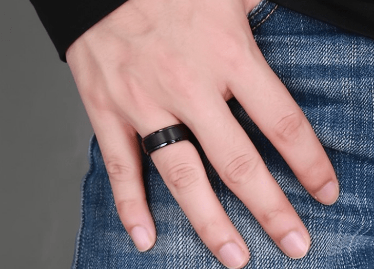 Black Textured Ring 8mm - primejewelry