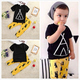 Yellow Mellow - Black Teepee T-Shirt and Yellow Pants
