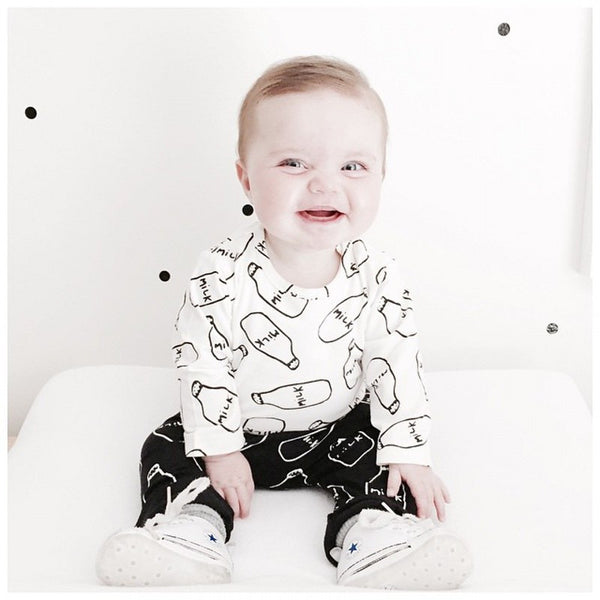 Got Milk? Unisex Milk Bottle Two Piece Long Sleeve Shirt and Pants Outfit