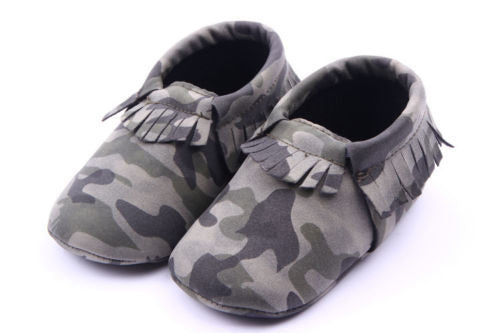 Camo Booties - Camouflaged Moccasin Fringed Shoe