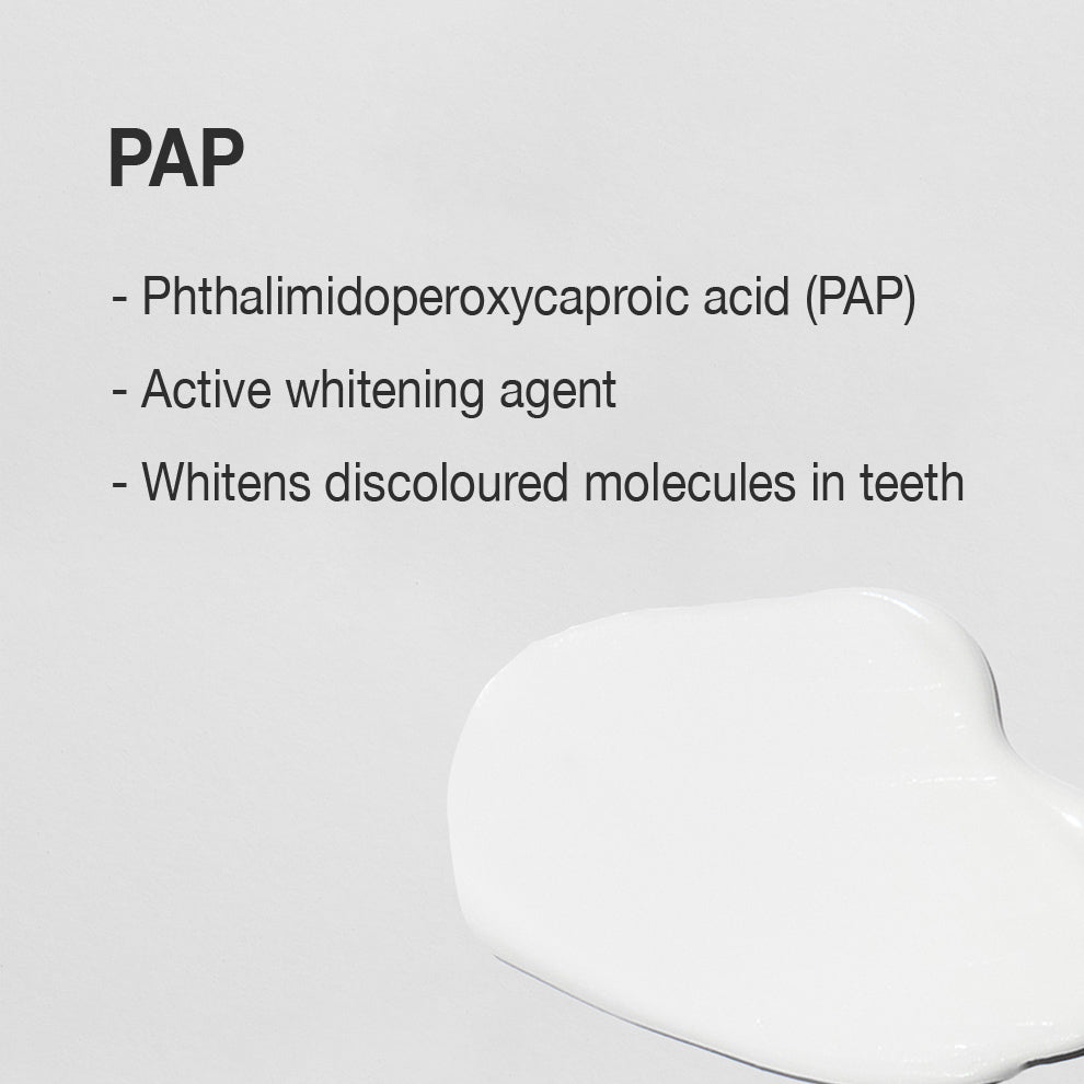 Phthalimidoperoxycaproic acid (PAP) is an active teeth whitening ingredient