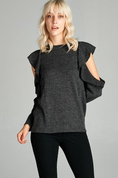 Grey Cut Out Shoulder