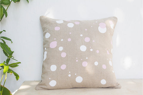 Dots Printed Linen Cushion