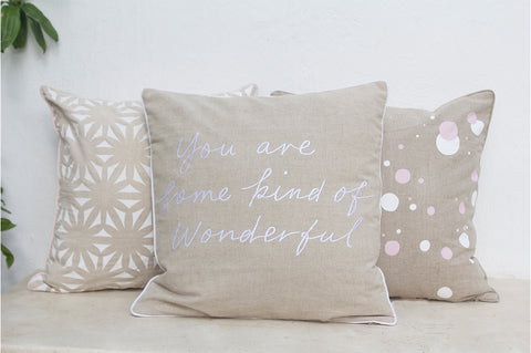 Wonderful Embroidered Linen Cushion