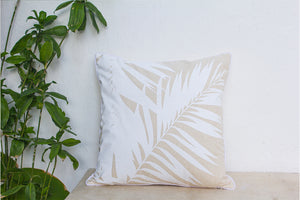 Open image in slideshow, Palm Printed Linen Cushion