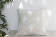 Printed Linen Cushion Cactus White