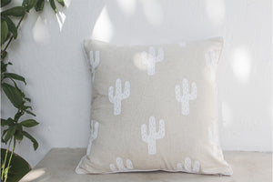 Open image in slideshow, Printed Linen Cushion Cactus White