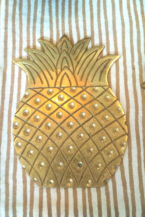 Pineapple brass coaster