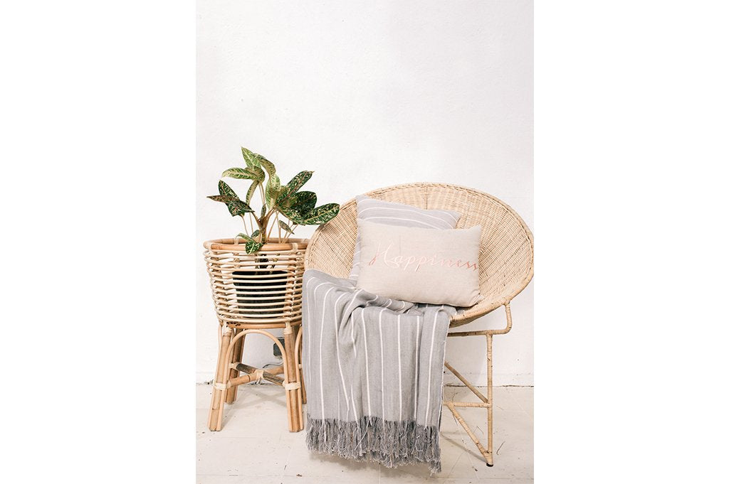 Striped Throw  Simple Grey