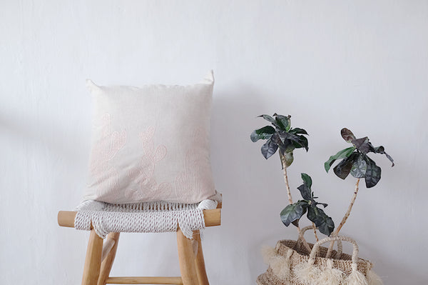 Cactus Embroidered Linen Cushion