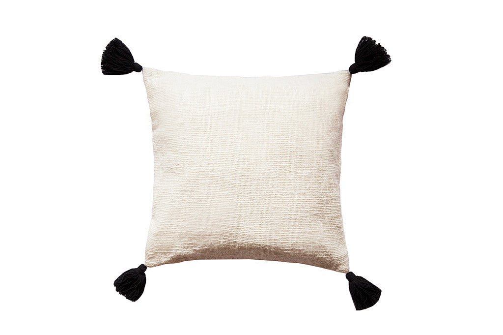 Tassel Pillow Natural / Black