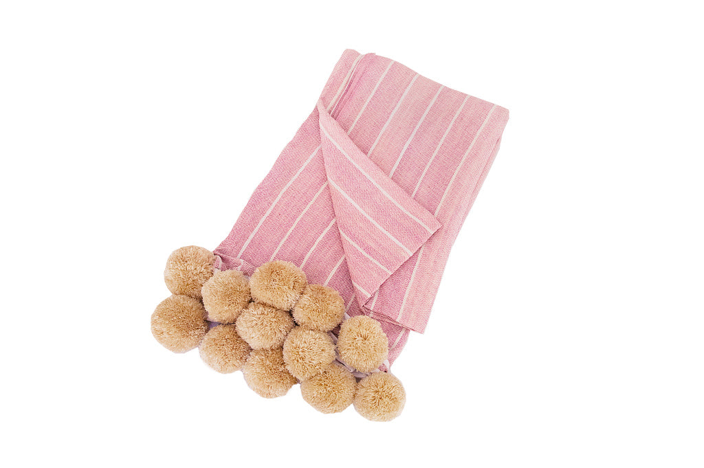 Striped Pompom Throw Pink Natural