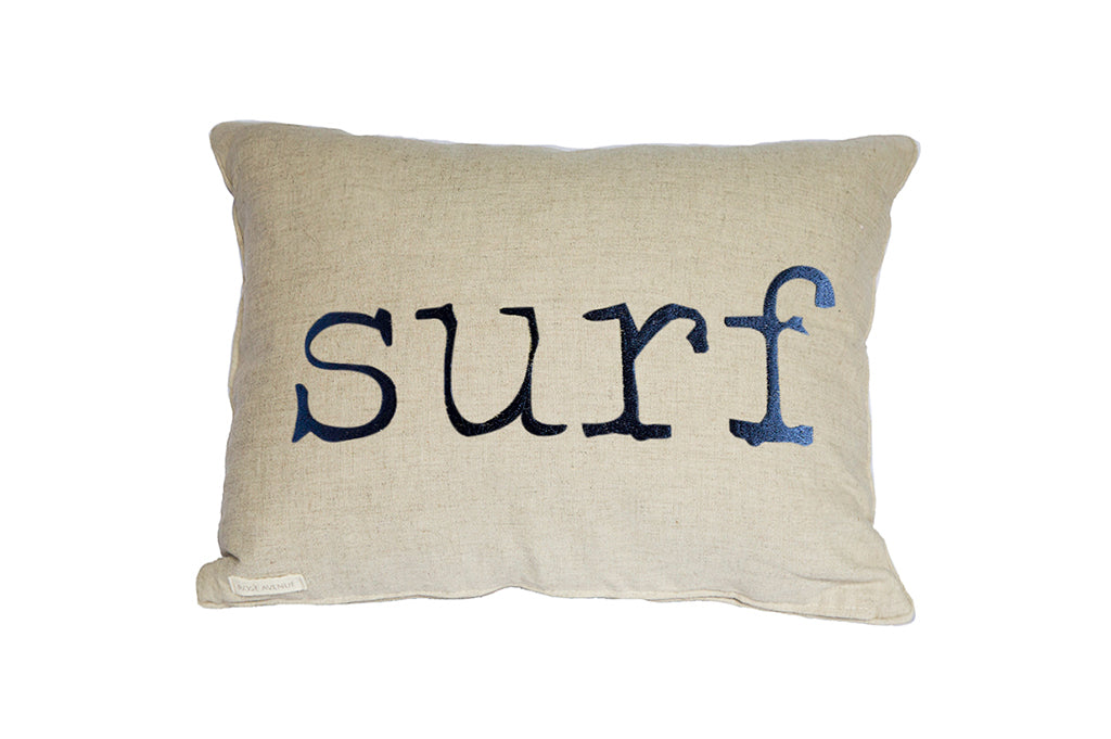 Linen cushions with embroidery Surf Navy