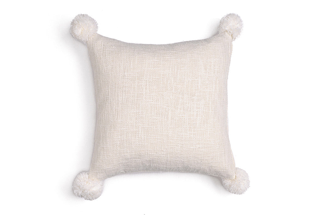 Big Pompom Pillow White