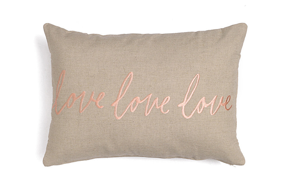 Linen cushions with embroidery love love love