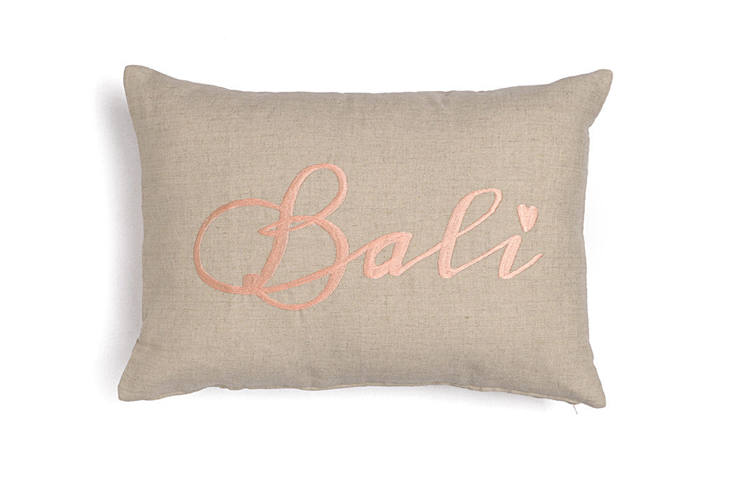 Linen cushions with embroidery Bali