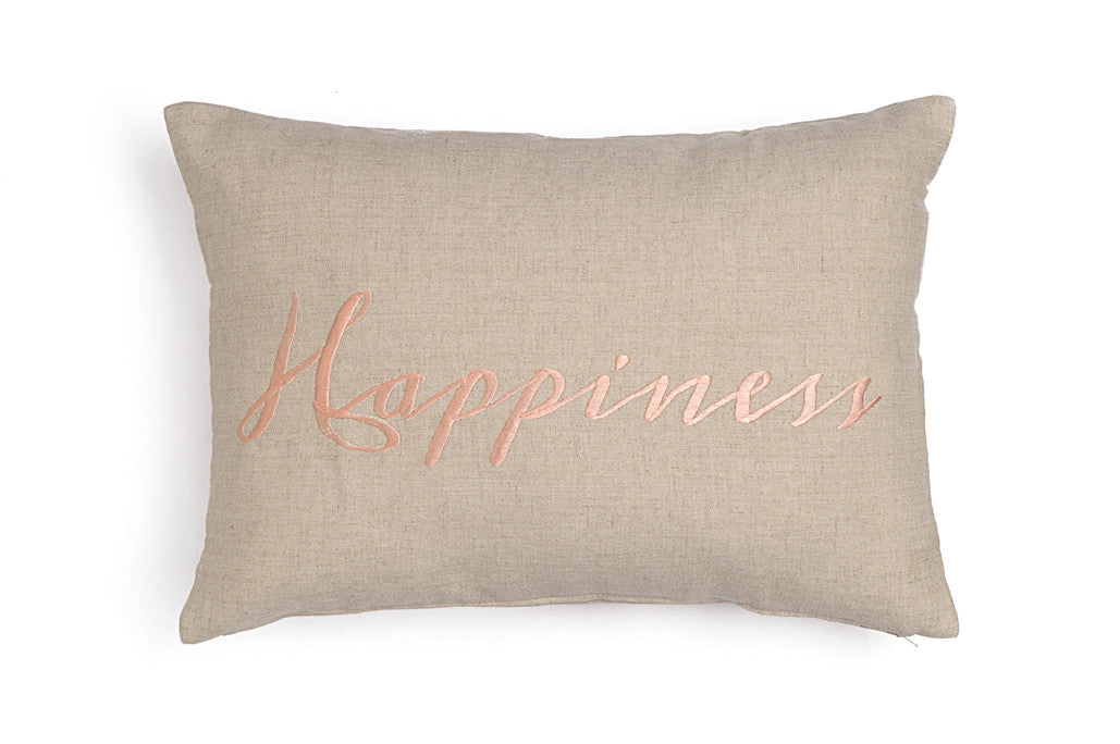 Linen cushions with embroidery Happiness Salmon