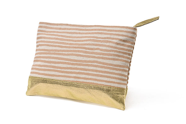 Small pouch with leather Gold Stripes