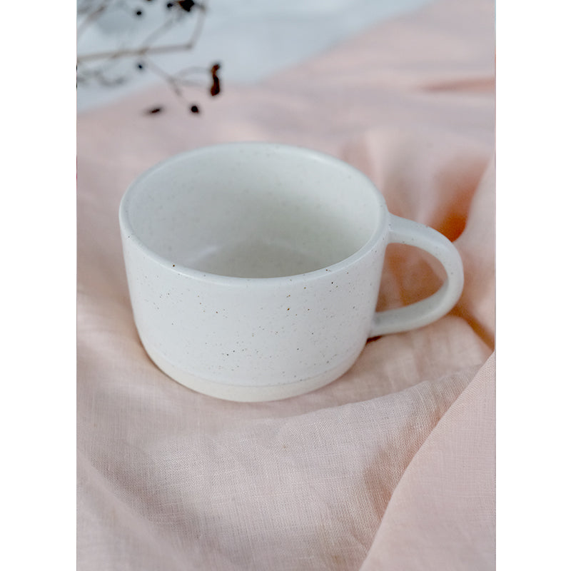Handmade Ceramic Cup with handle Creme