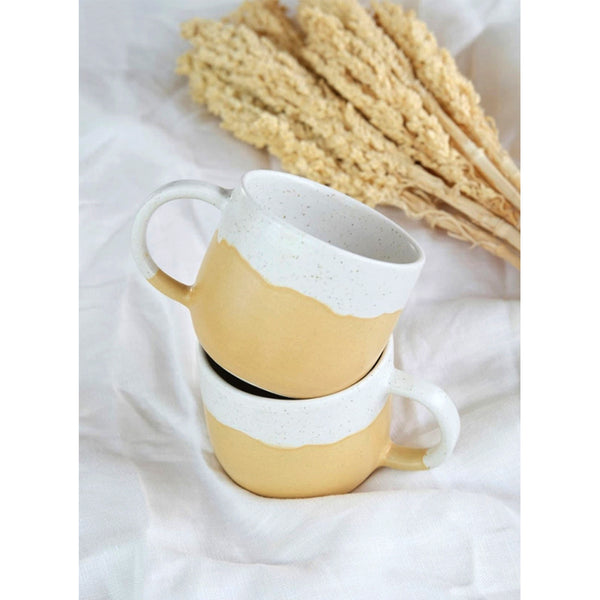 Handmade Ceramic Cup with handle yellow