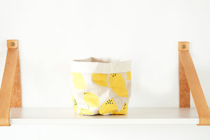 Open image in slideshow, Linen Storage Basket Round Lemon Yellow