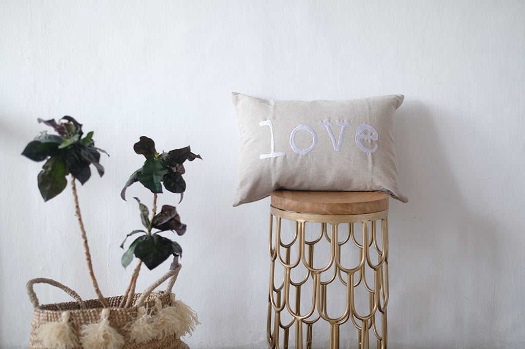 Linen cushions with embroidery Love