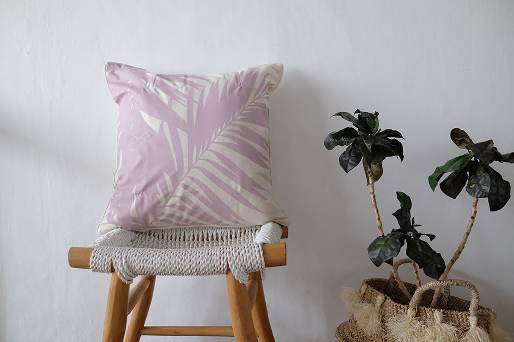 Palm Printed Linen Cushion