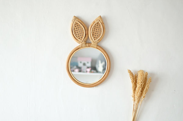 Rattan Mirror Rabbit