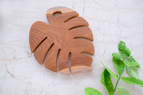 Teak Serving Board Monstera