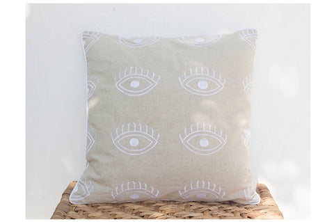 Eye Embroidered Linen Cushion
