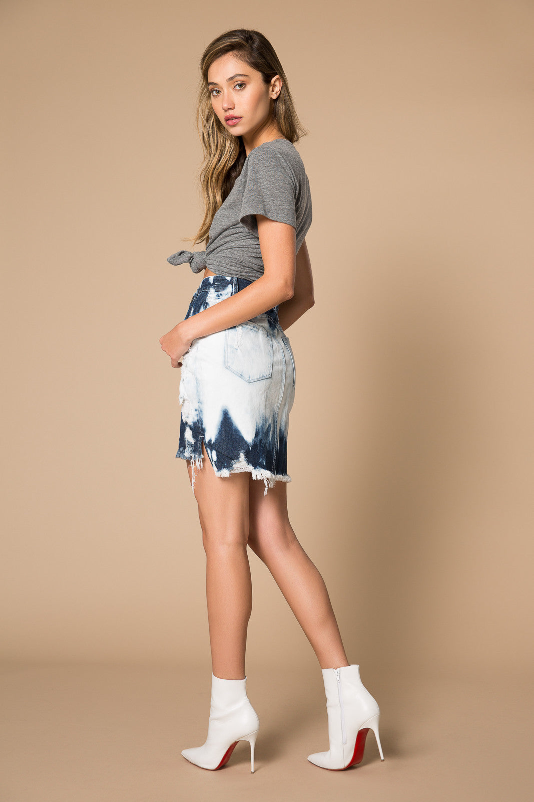 Iris Bleached Denim Skirt