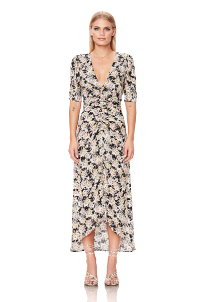 Suki Ruched Midi Dress - Gold Bouquet